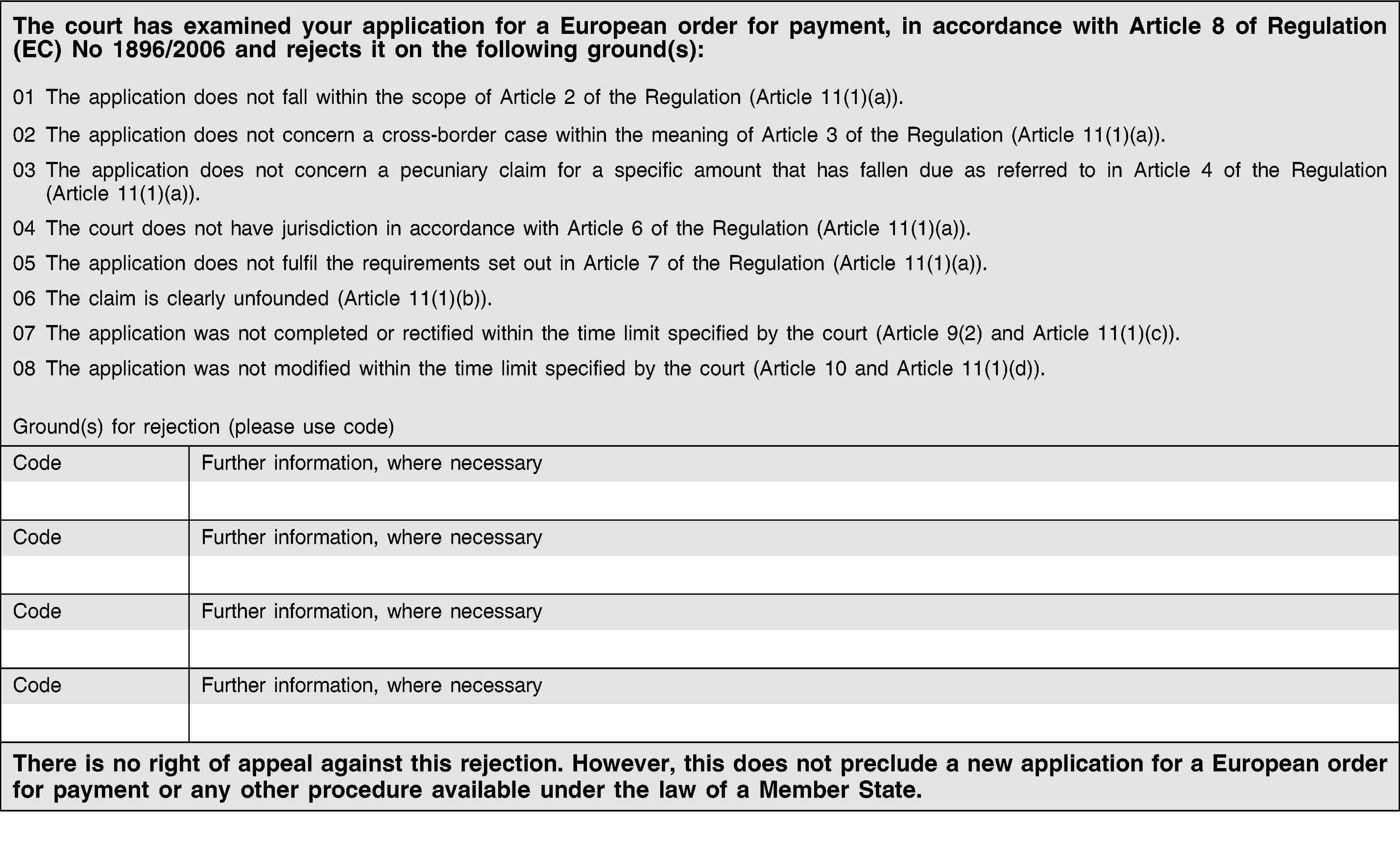The court has examined your application for a European order for payment, in accordance with Article 8 of Regulation (EC) No 1896/2006 and rejects it on the following ground(s):01 The application does not fall within the scope of Article 2 of the Regulation (Article 11(1)(a)).02 The application does not concern a cross-border case within the meaning of Article 3 of the Regulation (Article 11(1)(a)).03 The application does not concern a pecuniary claim for a specific amount that has fallen due as referred to in Article 4 of the Regulation (Article 11(1)(a)).04 The court does not have jurisdiction in accordance with Article 6 of the Regulation (Article 11(1)(a)).05 The application does not fulfil the requirements set out in Article 7 of the Regulation (Article 11(1)(a)).06 The claim is clearly unfounded (Article 11(1)(b)).07 The application was not completed or rectified within the time limit specified by the court (Article 9(2) and Article 11(1)(c)).08 The application was not modified within the time limit specified by the court (Article 10 and Article 11(1)(d)).Ground(s) for rejection (please use code)CodeFurther information, where necessaryCodeFurther information, where necessaryCodeFurther information, where necessaryCodeFurther information, where necessaryThere is no right of appeal against this rejection. However, this does not preclude a new application for a European order for payment or any other procedure available under the law of a Member State.
