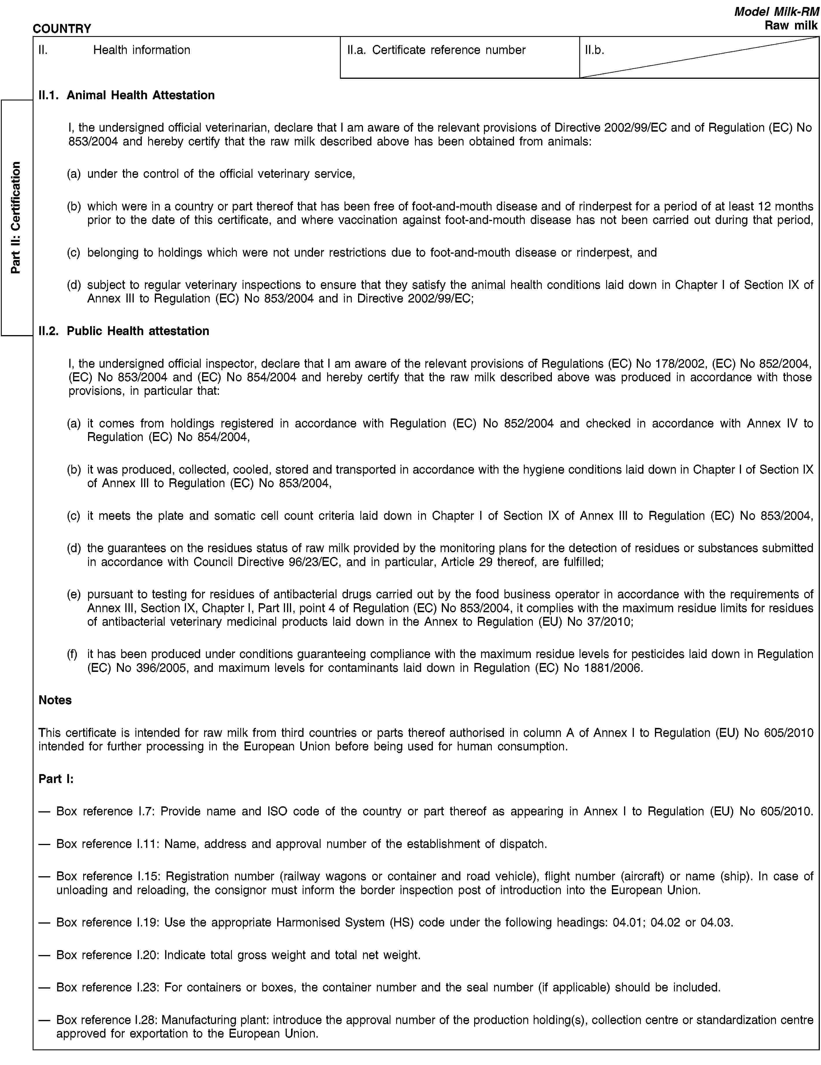 eur lex r en eur lex part ii 1057ertificationcountrymodel milk rmraw milkii health informationii a certificate reference