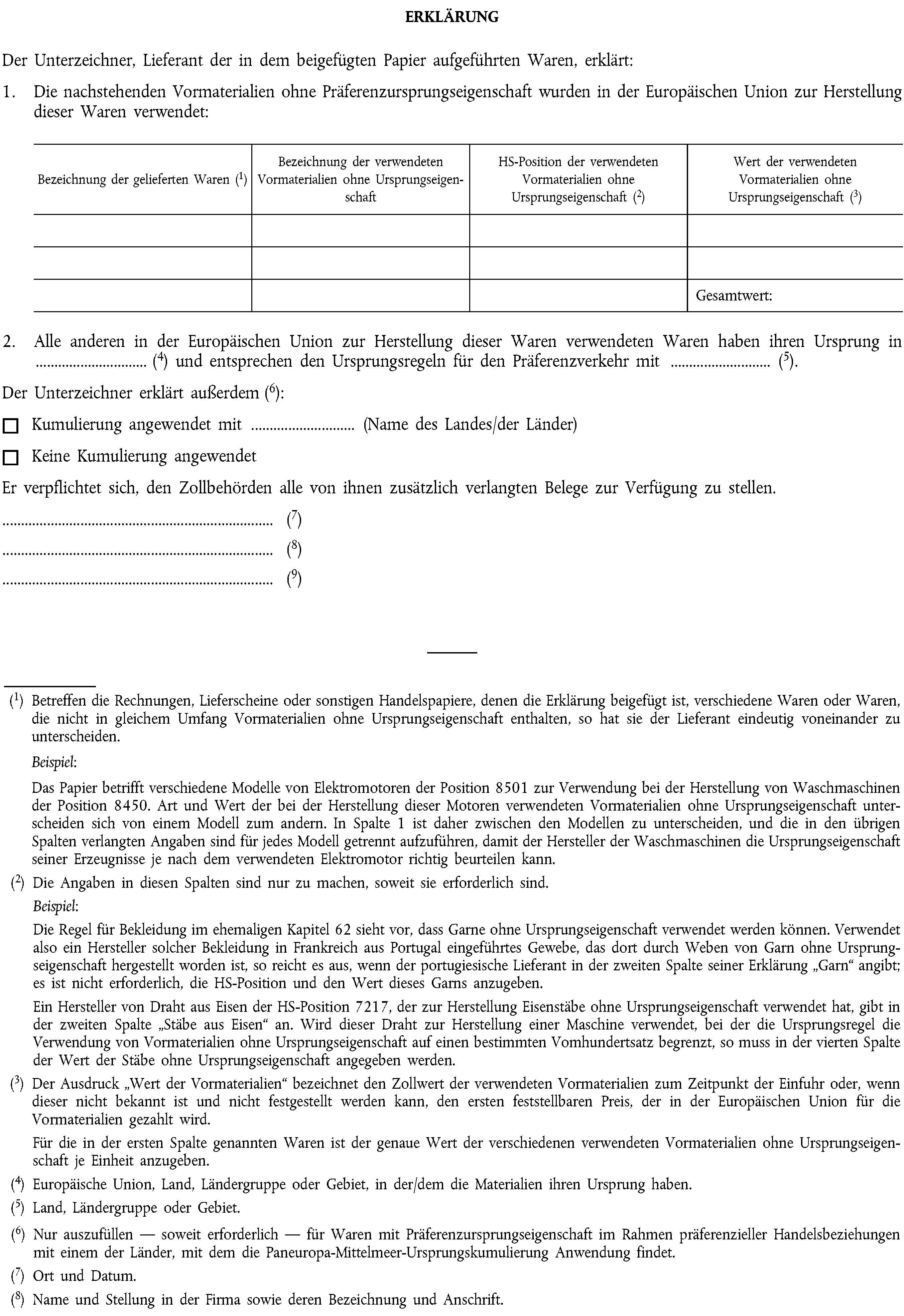 eur lex 02015r2447 20151229 en eur lex - Lieferantenerklrung Muster