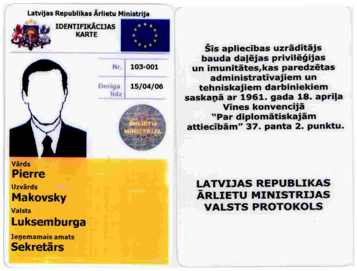 According To The Vienna Convention On Diplomatic Relations 18 April 1961 Article 372 This Card Includes Partial Privileges And Immunities Provided